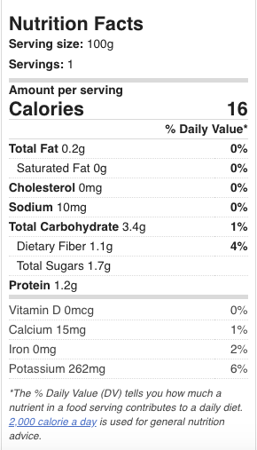 nutrition facts chayote
